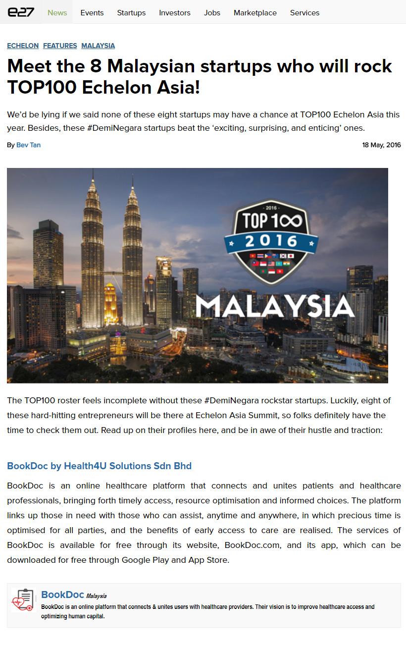Meet the 8 Malaysian startups who will rock TOP100 Echelon Asia!