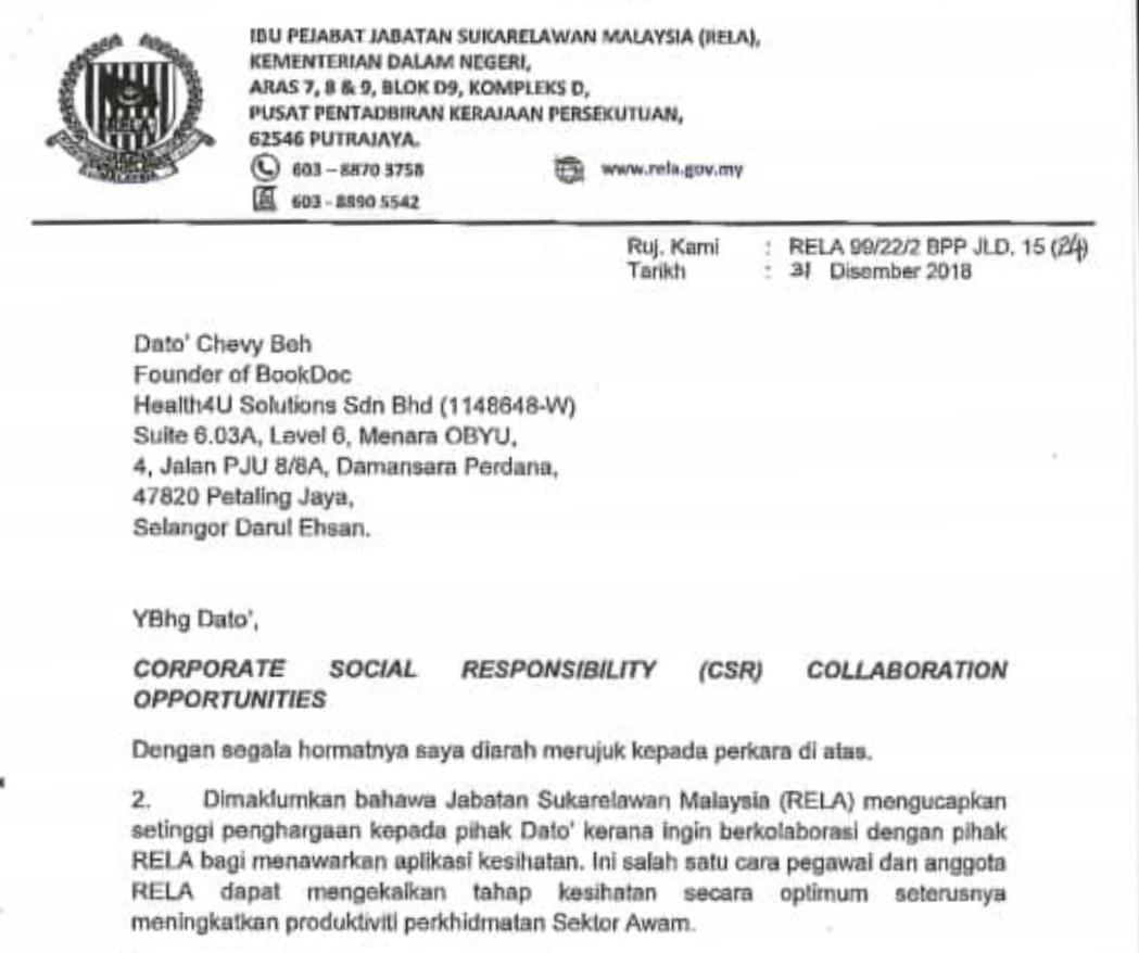 Csr Confirmation Letter From Jabatan Sukarelawan Malaysia Rela Bookdoc